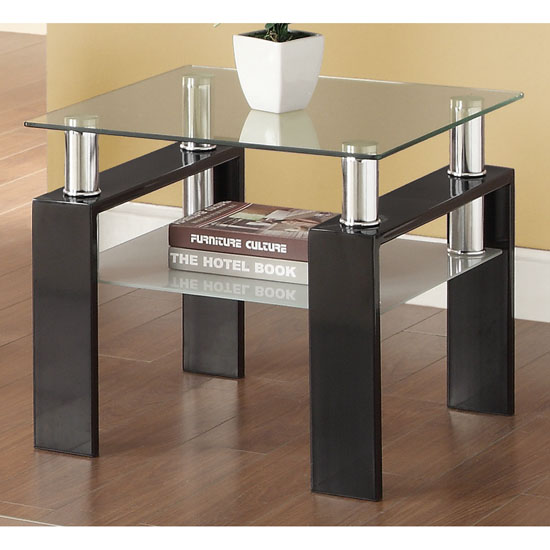 3pc Black Temper Glass Tops Metal Legs Coffee Table W: Two Level Console Table
