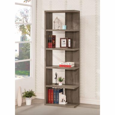 Open End One Side Grey Woodgrain Rustic 5 Shelf Boockase 23.5 inches wide