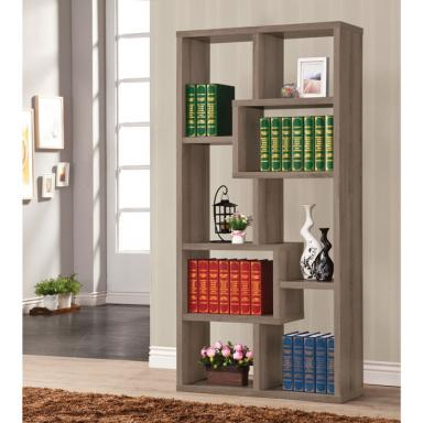 Weathered Rustic Modern Open Bookcase 800510