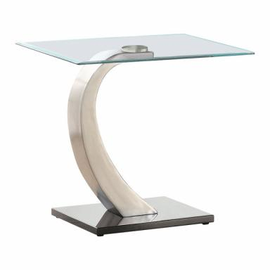 Contemporary Silver & Black end Table with Glass top Arched