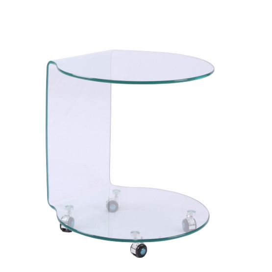 Bent Glass #B602 Side Table on Wheels