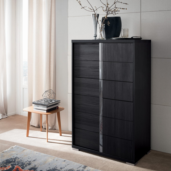 Alf Italia Italian Black High Chest 5 Drawer Self Closing Drawers Modern