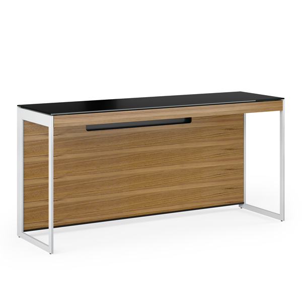 BDI Sequel20 narrow desk 60 inches by 18inches for laptop or narrow space modern contemporary natural walnut