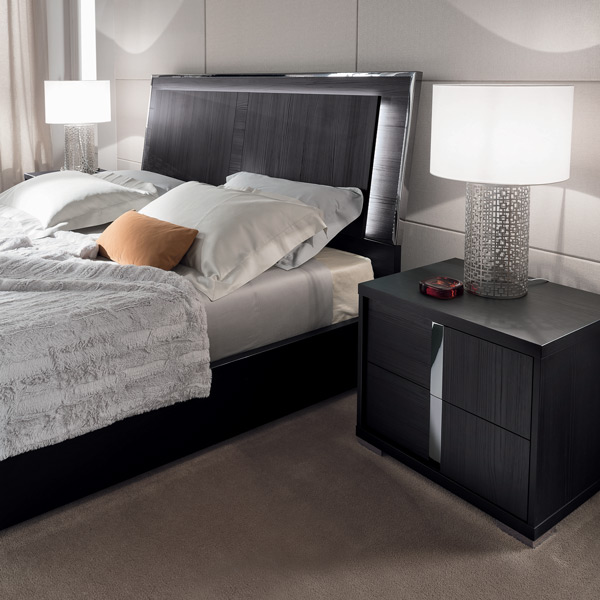 Alf Italia Etna Black Woodgrain 2 drawer nightstand contemporary modern