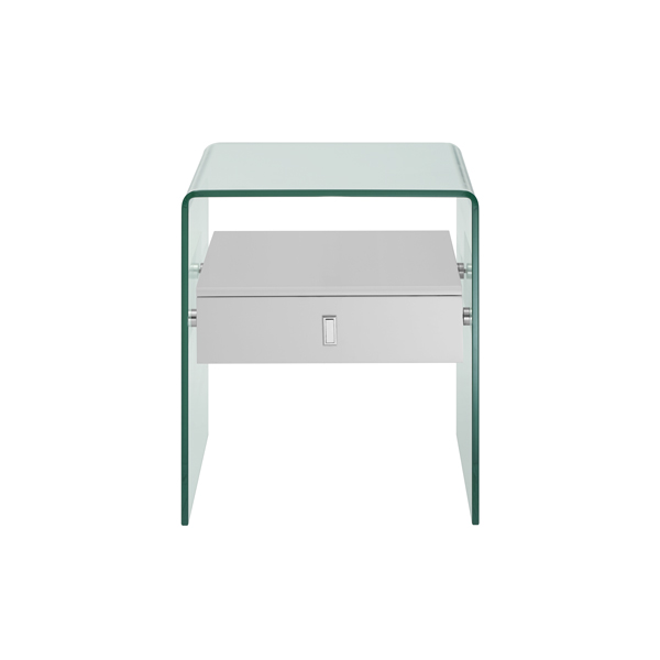 Bent Clear Glass Nightstand with Storage Drawer 5014