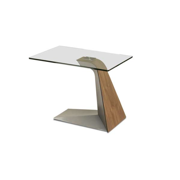 Elite Modern Contemporary Hyper End Table Glass Top Walnut Stainless 26x22