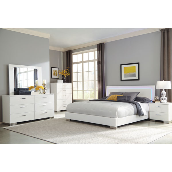White High Gloss Bedroom Furniture Contemporary Modern Clean not ornate