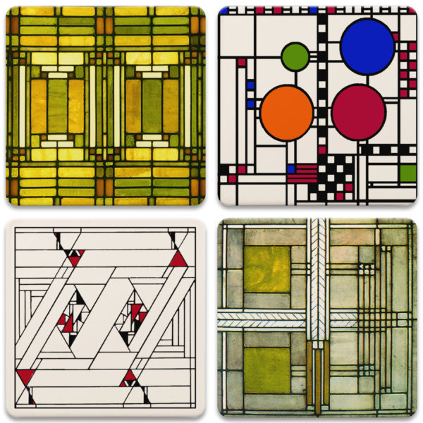 Frank Lloyd Wright Art Glass Coaster Set