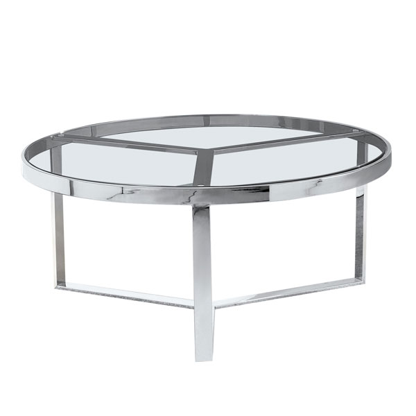 Round Metal & Glass Coffee Table #1080