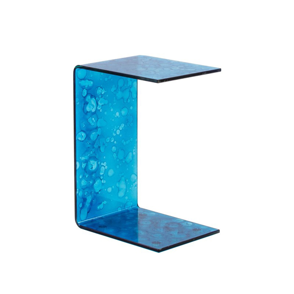 Kube Import Sahara U Table All Glass Turquoise Snack Table C529T