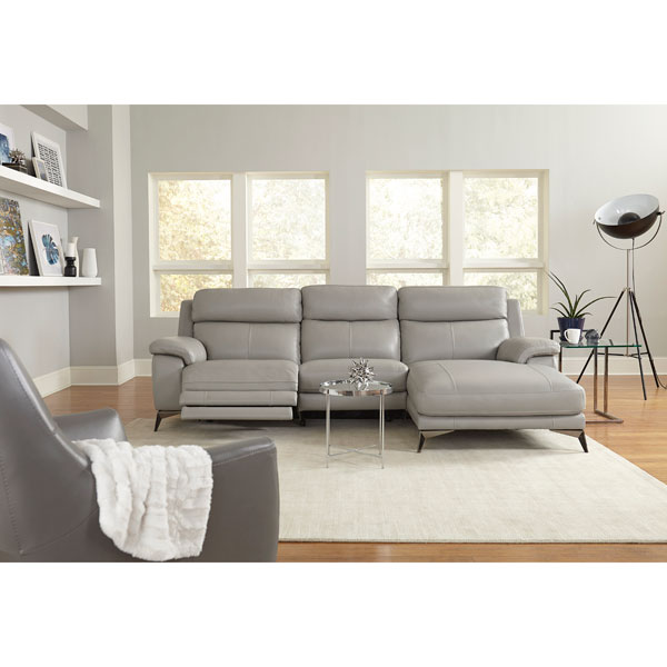 HTL Leather Dual Reclining Sofa with Metal High legs