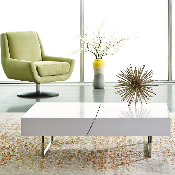High Gloss White Modern Coffee Table