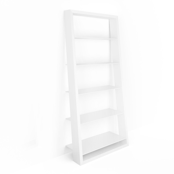 Modern Open White Leaning Bookcase