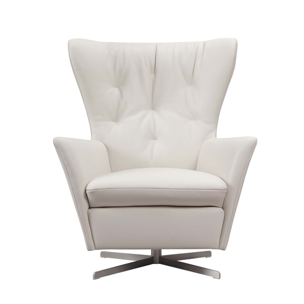 Schillig Wingback Contemporary Leather Highback Swivel Chair