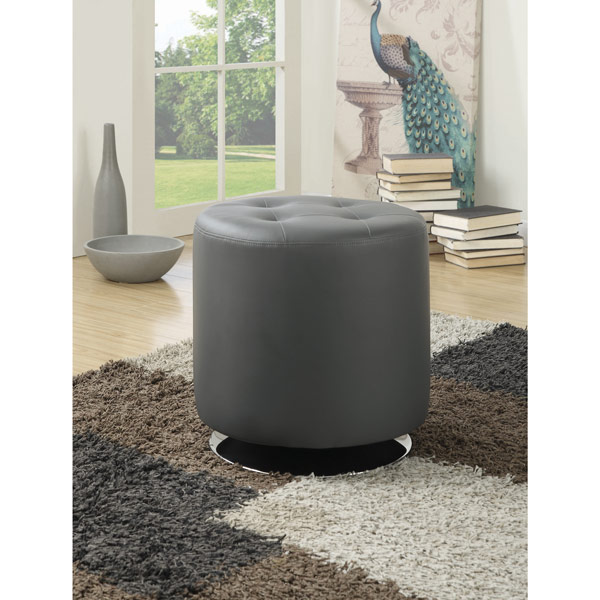 Tufted Round Swivel Footstool