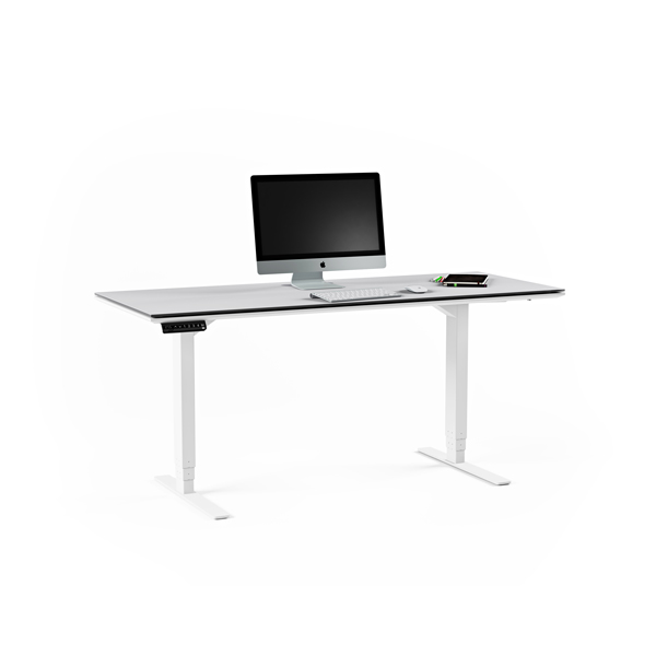 BDI Centro Sit Stand Lift Desk White with Grey Glass Top