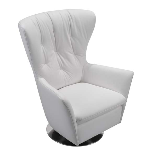 Tufted Highback Leather Swivel Chair