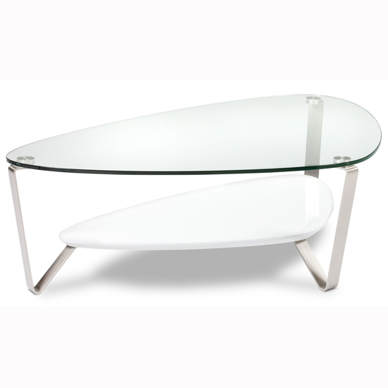 Unique Shape Glass Top Coffee Cocktail Table White