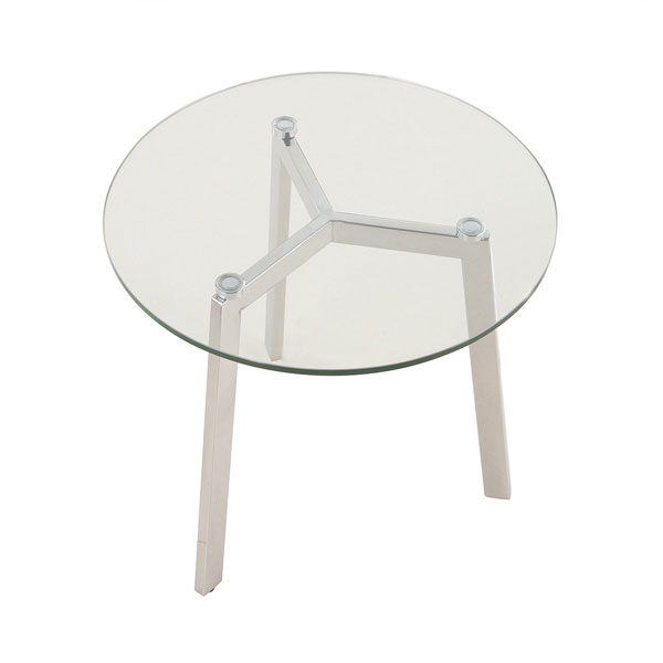 Sleek Contemporary Metal & Glass Round End Table