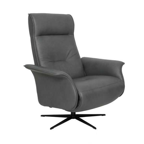 Fjords Finn Large Leather Swivel Recliner with Hidden Ottoman