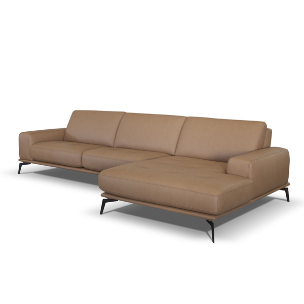 Genuine Leather Sofa with Chaise Italian