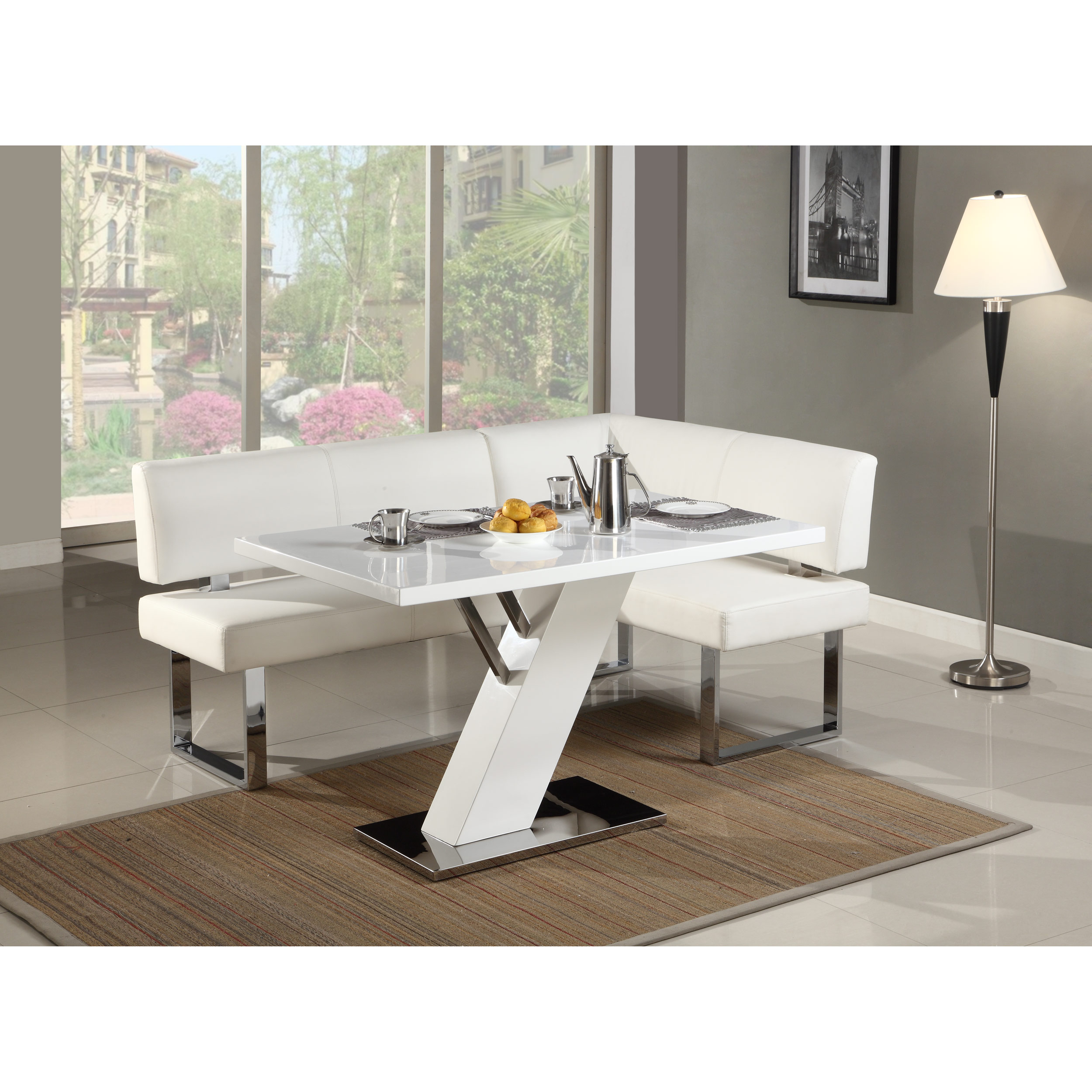 Dinette Bench Seating: Nook Corner Bench Seating White