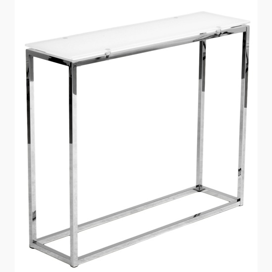 Chrome Metal & White Glass Console Table