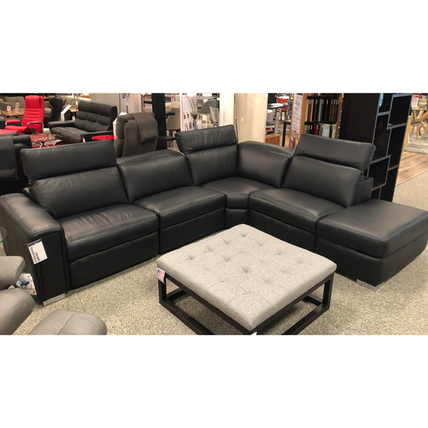 Contemporary Galleries Leather Sectional With Power