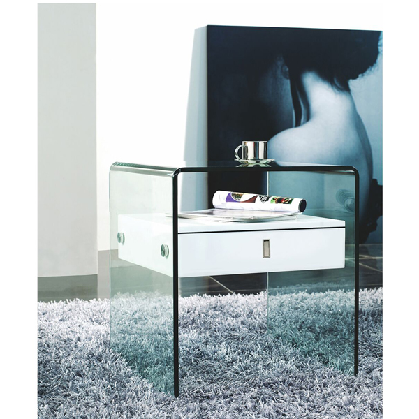 Modern Contemporary Glass End Table with Single Drawer