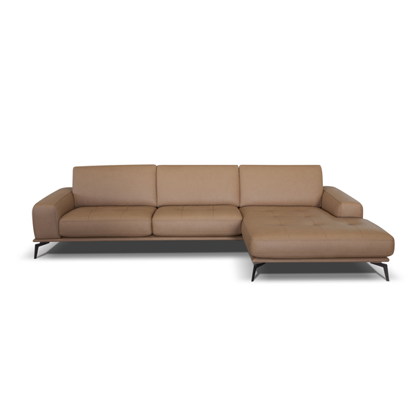Bracci Brand Italian Produced Leather Sofa with Chaise Lounge