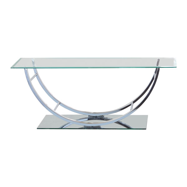 Chrome Curved Metal Base Coffee Table with Clear Glass Top