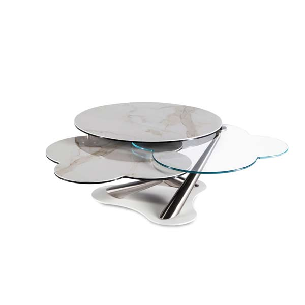 Glass & Marble Ultra Contemporary Expandable Coffee Cocktail Table 63 inch
