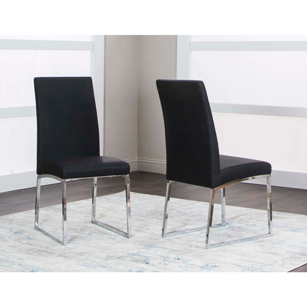 Highback Contemporary Side Chair with Sled Base