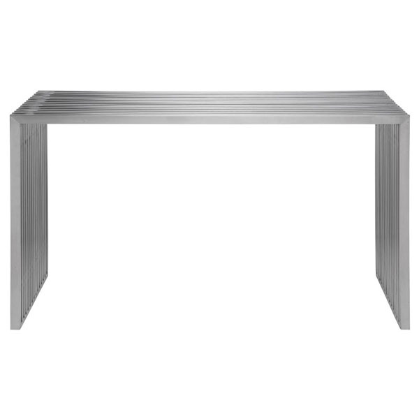 Amici Brushed Stainless Steel All Metal Console Table Slatted HGDJ189