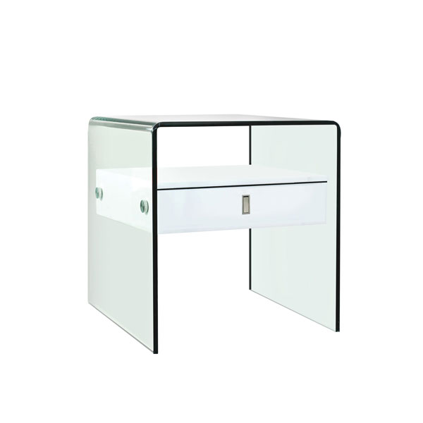 Curved Glass One Drawer Nightstand #1097