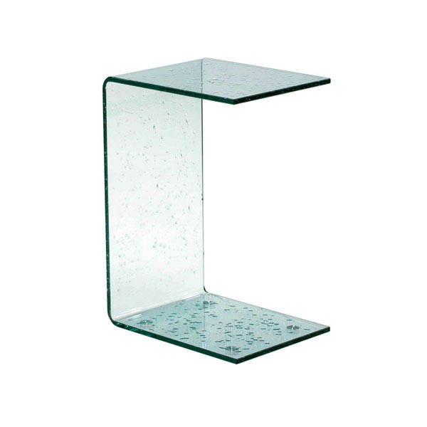 Raindrops All Glass Narrow End Snack Table