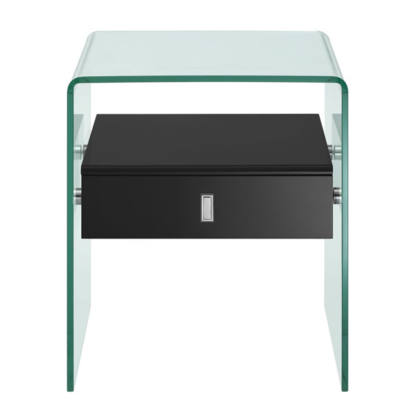 Bent Clear Glass One Drawer Nightstand Black Modern