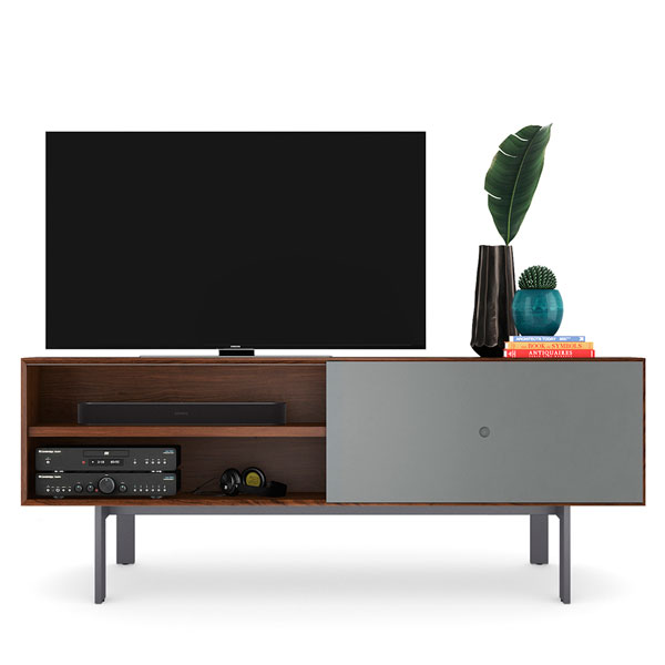 BDI Margo TV Stand Mid-Century Walnut with Grey Door Holds upto 82inch TV