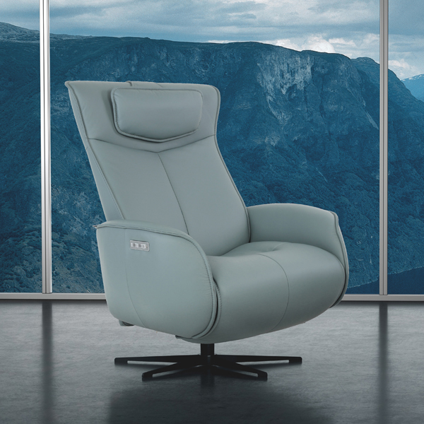 Modern Contemporary Leather Recliner Dual Power Mechanisms