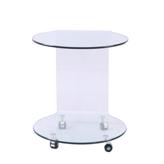 Clear Bent Glass Side Table