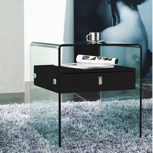 Curved Glass One Drawer Nightstand #1100