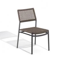 Oxford Garden Eiland Weaved Side Chair Stackable Aluminum