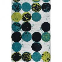 Mid-Century Area Rug Blue Greens Circles Abacus Simple Spaces rug 2 by 3 SSMMN001B