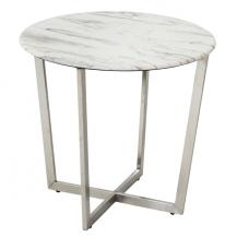 Faux Marble End Table White #1216