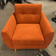 Vilmers Salsa Chair with Elliptical Arms & button tufted back cushion in orange fabric