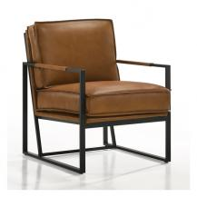 Boca Arm Chair in Saddle Leather Open Airy Metal Frame 6904 Kube