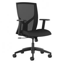 @NCE 205 Black Mesh Simple Task Chair with Tilt Recline Adjustable Arms Quick Ship