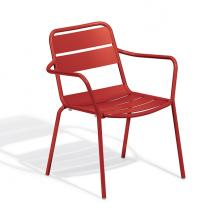 Oxford Garden Kapri Retro all aluminum stackable arm chair KICH red